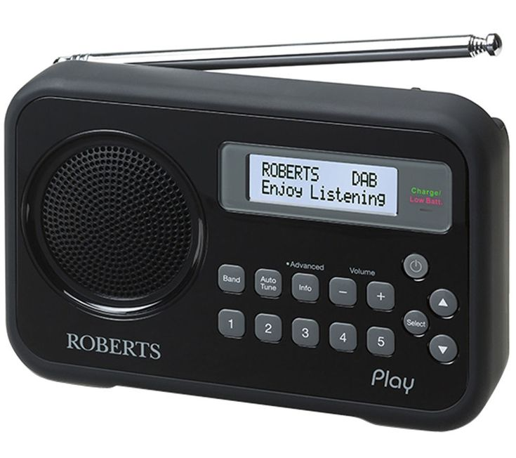 ROBERTS  Play Portable DAB Radio - Black, Black Price: £ 49.99 Enjoy clear broadcasts with loads of choice when you choose a Roberts Play Portable DAB+ Radio in black. Listen all day Encompassed in a tight, funky design, this great Roberts DAB radio allows you to listen to a huge range of stations for as long as you like, including your favourites. Access FM, DAB and DB+ RDS wavebands and...