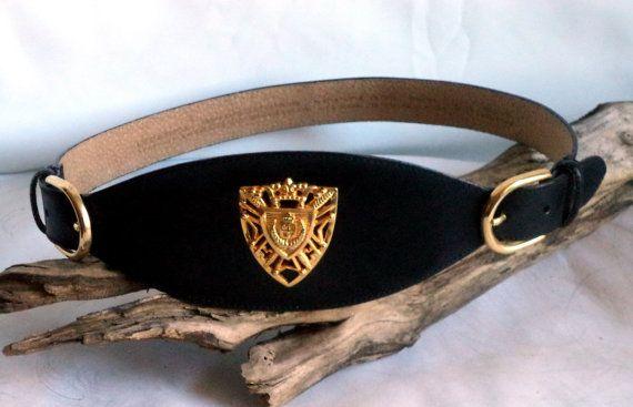 80s LC Belt Black Leather Medium S Heraldic by MushkaVintage3