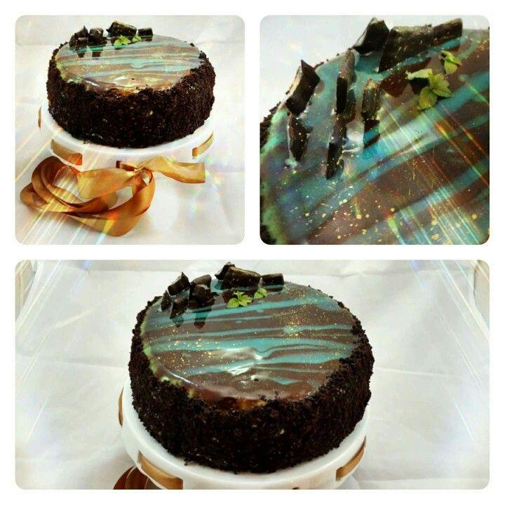 After eight#mirror glaze#mint chocolate#