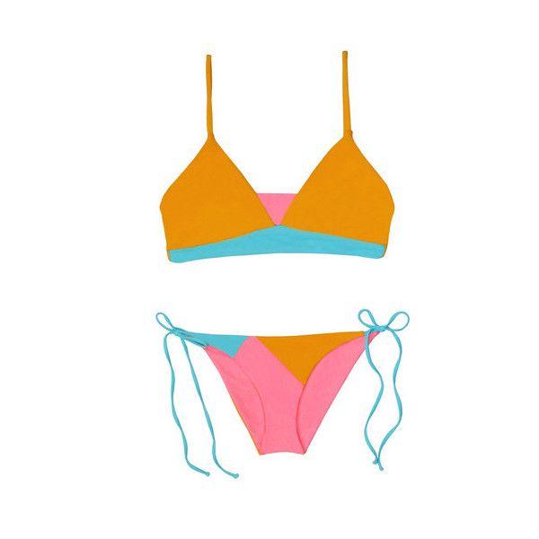 Basta Surf Samoa Reversible Bikini (9,580 THB) ❤ liked on Polyvore featuring swimwear, bikinis, orange, bikini bottom swimwear, side tie bikini, basta swimwear, orange bikini and bikini two piece
