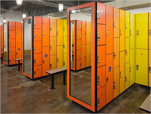 This locker room at the 14th Street Y in New York proves that you don't have to spend millions to have unique, beautiful design.  They've installed standard lockers here, but varied the colors to make the doors appear like a giant mural, turning the lockers into a work of art.