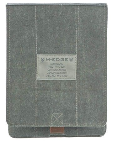 This vintage military-inspired sleeve is a true classic. The iPad 2 is held securely inside, with a vertical cover that flips back while the device is in use or snaps shut for ultimate protection. The sleeve is made from weathered cotton canvas and genuine leather trim with brass hardware in original US Military olive drab green and German grey. EreadersRus  - Trench Runner Sleeve for iPad 2, AUD22.95 (http://www.ereadersrus.com.au/trench-runner-sleeve-for-ipad-2/)