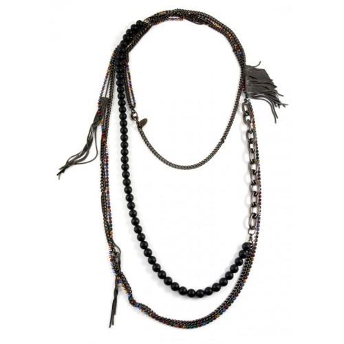 Iosselliani - Black Agates Long Brass Necklace