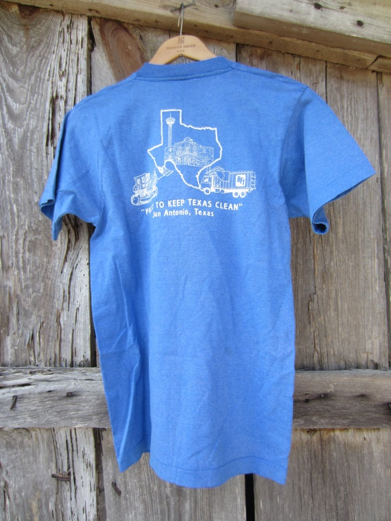90's Blue Texas Waste Systems T-Shirt, S-M // Vintage Screen Stars Best T-Shirt