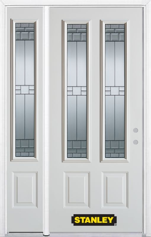52 75 Inch X 82 375 Inch Seattle Zinc 2 Lite 2 Panel Prefinished White Left Hand Inswing Steel Prehung Front Doo Steel Entry Doors Stanley Doors White Paneling
