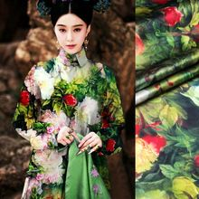 118 см шириной 93% шелк и 7% спандекс 19 мм большой цветок зеленые листья печать атласной ткани для платья рубашки одежды(China (Mainland))