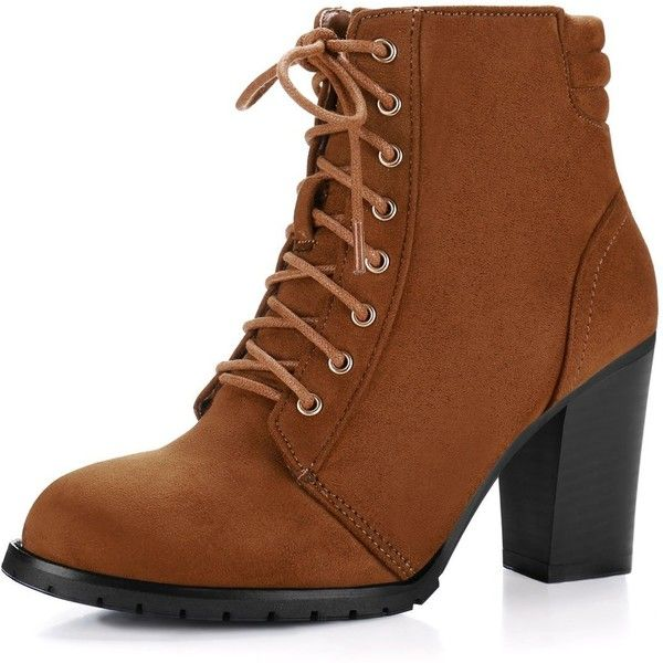 Amazon.com | Allegra K Women Chunky Heel Quilted Back Lace Up Booties... (38 AUD) ❤ liked on Polyvore featuring shoes, boots, ankle booties, chunky heel ankle boots, brown bootie, wide width ankle boots, brown ankle booties and brown ankle boots