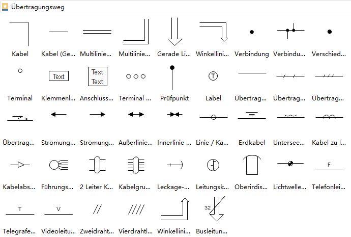 Übertragungsstrecke Symbole Schalter Schaltplan