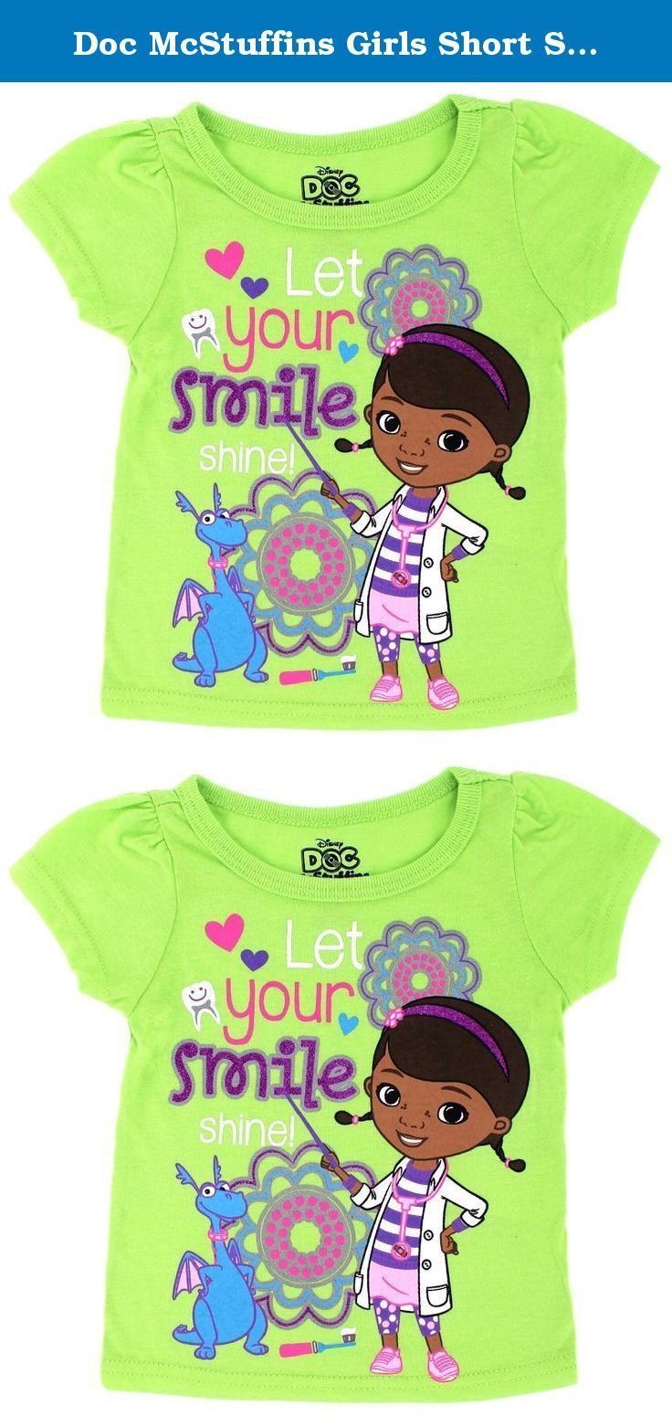 Doc McStuffins Girls Short Sleeve Tee (18M, Lime Let Your Smile Shine). Help Doc McStuffins the Boo Boo Buster care for her toy friends wearing these darling Doc McStuffins t-shirts. Featuring bright colors, ribbed-knit collar, short sleeves, and fun glittered graphics of your favorite Disney Jr Doc McStuffins characters such as, Dottie Doc McStuffins, Stuffy the dragon, and Lambie the lamb. These Disney Doc McStuffins tops are the perfect addition to any little girl's wardrobe. Any…