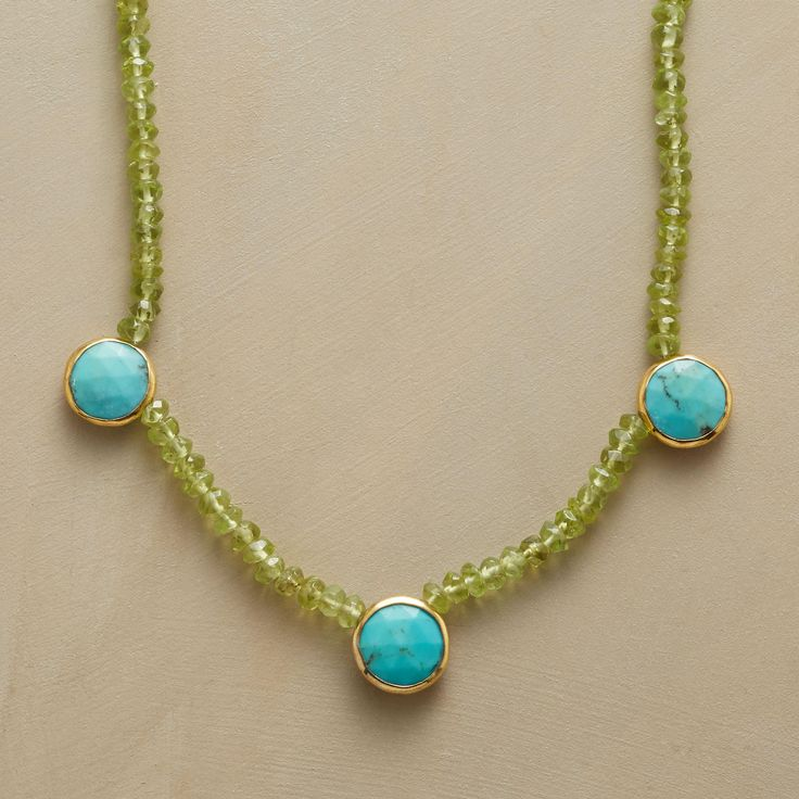 BUTTON AND BEAD TURQUOISE NECKLACE--Faceted turquoise buttons rimmed in 18kt gold plate accentuate peridot's green hue. Exclusive. Handmade in USA