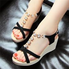 Cuero verdadero genuino de lujo de la mujer sandalias de verano de la correa del tobillo plataforma carrera cuñas Rhinestone para mujer zapatos negros QA05(China (Mainland))
