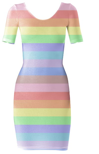Rainbow Stripes of Pastel Colors Bodycon Dress by khoncepts.com