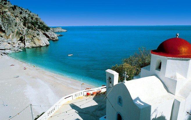 Playa en Kyra Panagia, Grecia http://www.guias.travel/ver/?city/gr/kyra-panagia.es.html