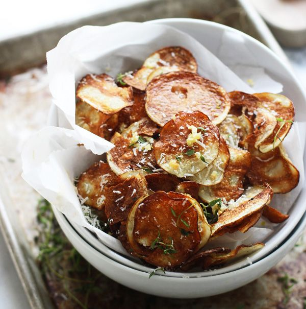 Crispy Baked Potato Chips with Garlic, Thyme and Parmesan