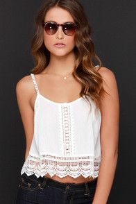 Above Ground Ivory Lace Crop Top at Lulus.com!