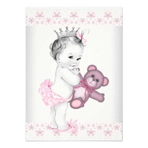 pink teddy bear princess baby shower card