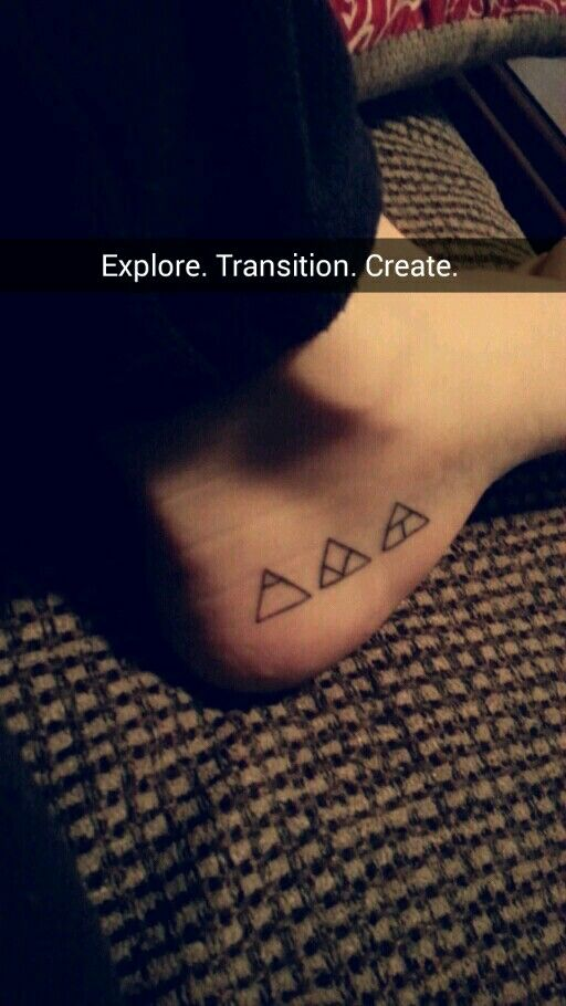 Explore. Transition. Create. Small glyph tattoo on foot ( heel/ ankle placement) Hand-poked (stick and poke)