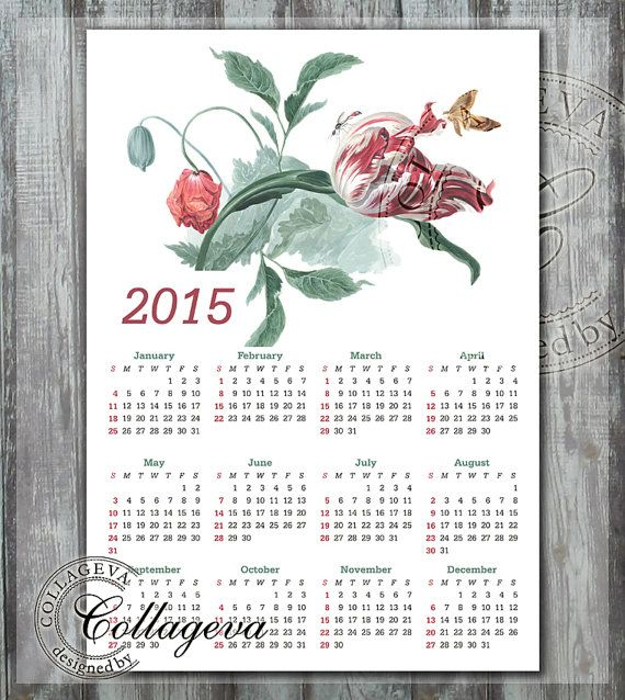 2015 Printable Calendar, a1, a2, a3, a4, DIY Year Calendar, watercolor painting, tulip, poppy, butterfly, Instant Download, wall art by collageva