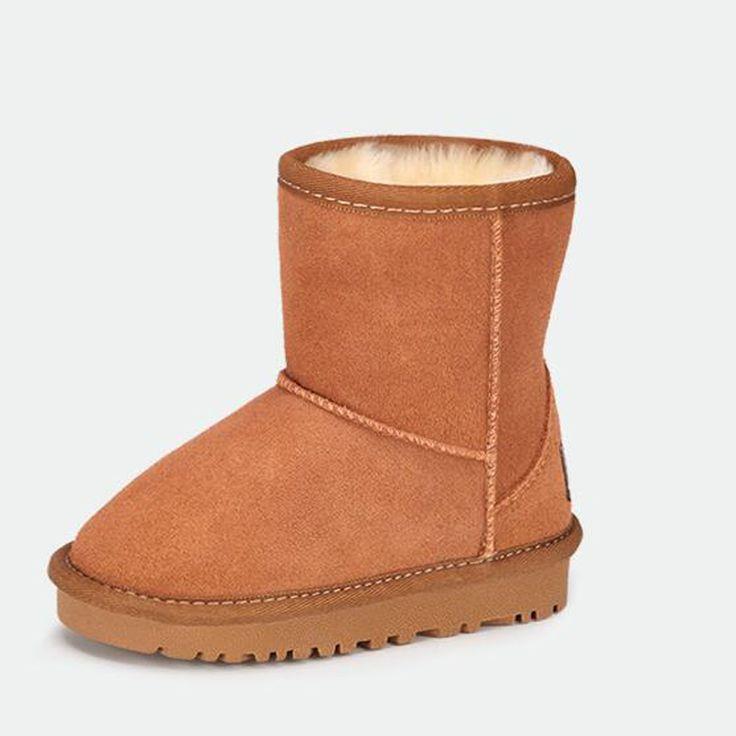 Дети сапоги зимние 2016 натуральная кожа зимняя обувь мальчиков и девочек сапоги нескользкой доказательства водонепроницаемый дети снегоступы #hats, #watches, #belts, #fashion, #style