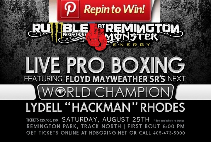 REPIN this picture and you will be entered in a drawing to WIN two (2) tickets to our Professional Boxing Match on Saturday, August 25 at Remington Park! Make sure you're following Remington Park on Pinterest so we can contact you if you WIN! - * only one winner * Winner will be announce on Thursday, August 23, 2012.