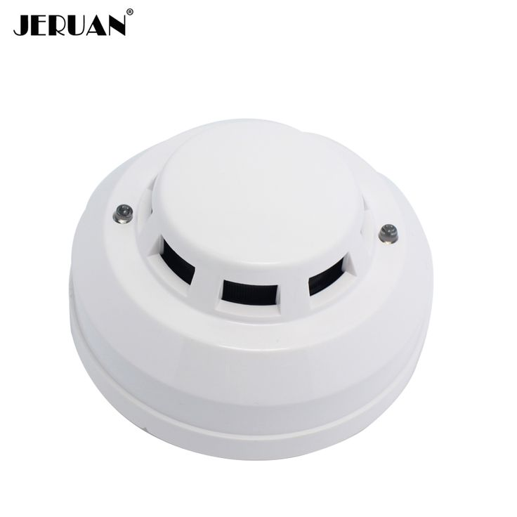 JERUAN 12V DC wired smoke detector optoelectirc sensor use to check fire or anti something burning connect to wired zone