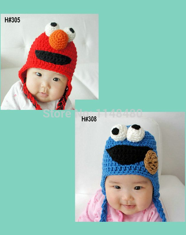 Улица сезам Шлема Вязания Крючком 0-3 М Новорожденных Детские Шапки Cookie Monster Hat элмо Hat Caps для Ребенка Мальчик Девочка Фото Реквизит Хэллоуин Подарок