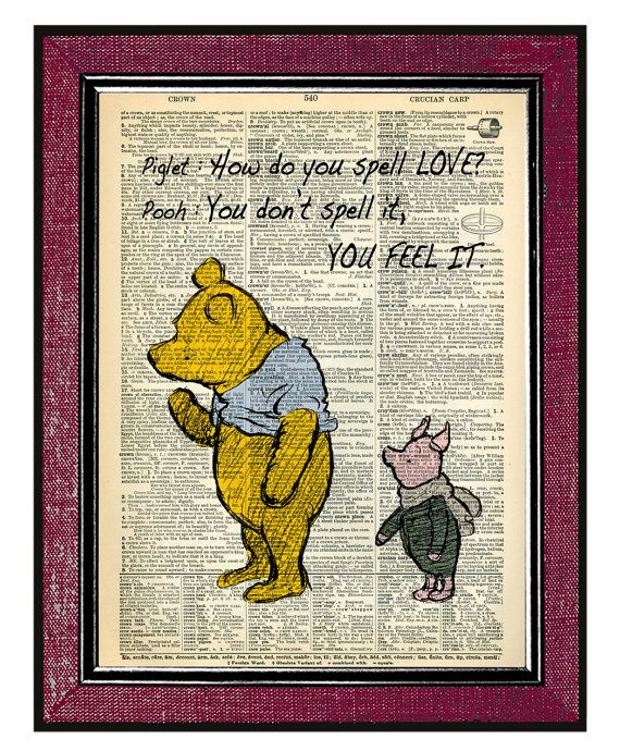 winnie the pooh and piglet 4 typographic print dictionary art print typography wall art classic. Black Bedroom Furniture Sets. Home Design Ideas