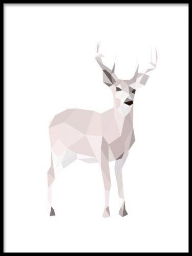 Snygg och trendig poster med polygon figur. Tavla med hjort. Affischer med naturmotiv.
