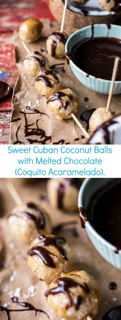 Sweet Cuban Coconut Balls with Melted Chocolate (Coquito Acaramelado) | halfbakedharvest.com @hbharvest