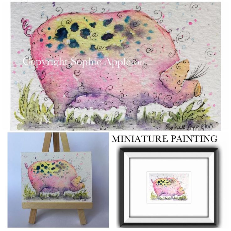 ACEO Miniature Original Watercolour Painting POSH PINK PIG by Sophie Appleton #ACEOartcards