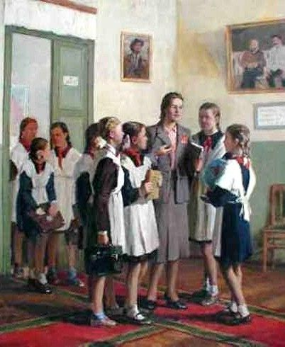 "Russian school uniform. ""At School"" – painting by I. Vladimirov, 1950s. #education http://www.pinterest.com/spenceryang3000/education_russian/"