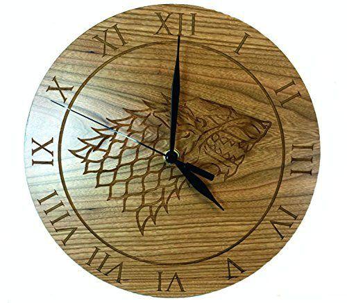 Derwent Laser Crafts Ltd Game Of Thrones Inspired House Stark Cherry Clock