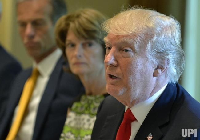 President Donald Trump makes remarks as he hosts a working lunch with members of Congress, including Sen. John Thune (L) and Alaska Sen.…