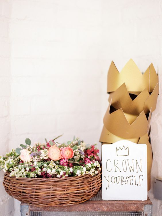 Get excited about this inspiration for your very own wild and whimsical baby shower. Floral crowns are still on trend this spring for baby shower fun. @camillestyles