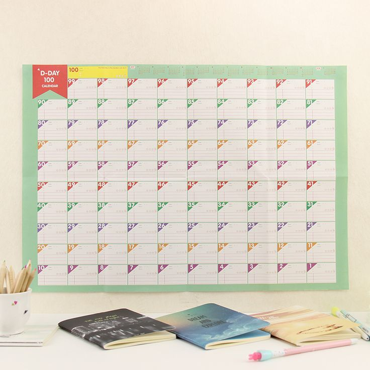 1pcs Office School Supplies Learning Schedule Periodic Planner Table Gift  Study Planning 100 Day Countdown Calendar