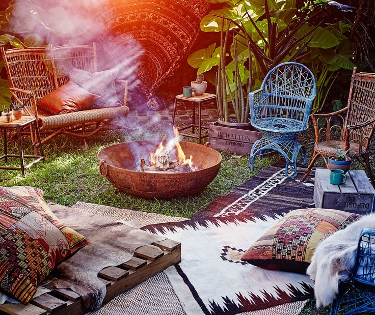 **1. Relaxed gathering.** On a budget? Gather your friends, a bunch of blankets, some Moroccan-style cushions and relax in style around a fire pit. These boho-style elements create an inviting, familiar and intimate atmosphere. Winter entertaining, sorted. Photo: Brett Stevens / Bauersyndication.com.au.