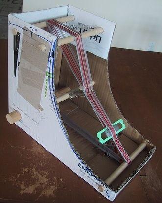 homemade loom | The DIY Cardboard Box Inkle Loom http://weavolution.com/project/jacqueline-keller/diy-cardboard-box-inkle-loom