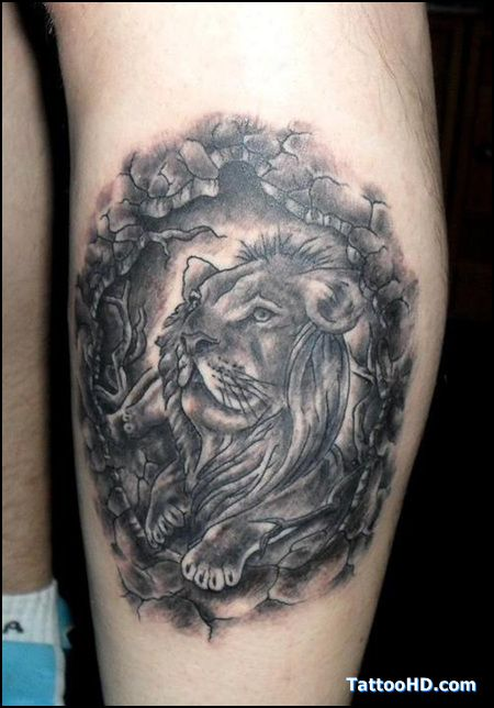 Male Lion Leg Tattoo Design