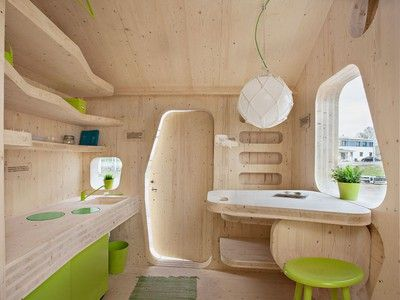 """""""Smart Student Unit"""" is a 100 square foot timber wonder-I LOVE the natural feel of this lil room..."""