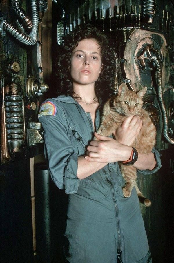 Sigourney Weaver and Jonesy. Alien, 1979. I loved Alien. This first one and the sequel Aliens were probably my favorites out of the series so far.