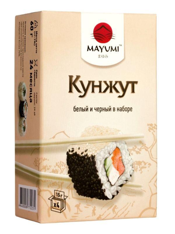 Кунжут белый и черный MAYUMI, карт/кор. Кунжут (другое название — сезам) высоко ценится в восточной кулинарии. Жареные семена кунжута используются для приготовления суши и роллов. Кунжут имеет тонкий ореховый, сладковатый вкус.