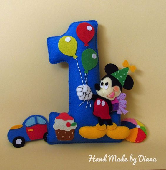 felt number felt decor kids birthday by FeltToysFromDiana on Etsy
