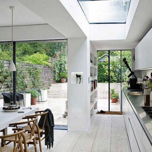 We like open view to rising garden, slimline windows, plenty of light in side return