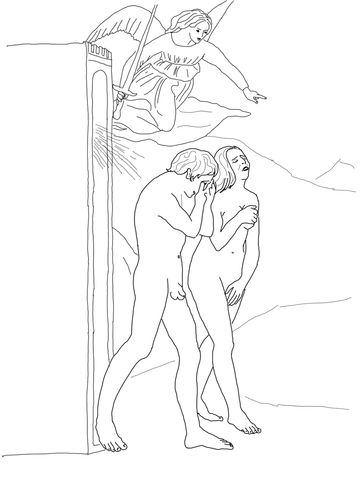 Adam And Eve Banished From Paradise Coloring Page