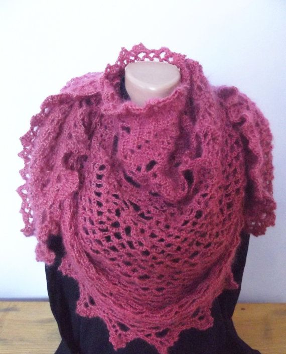 Crochet Pineapple Lace Wrap Mohair Elegant by CharmingBeautique