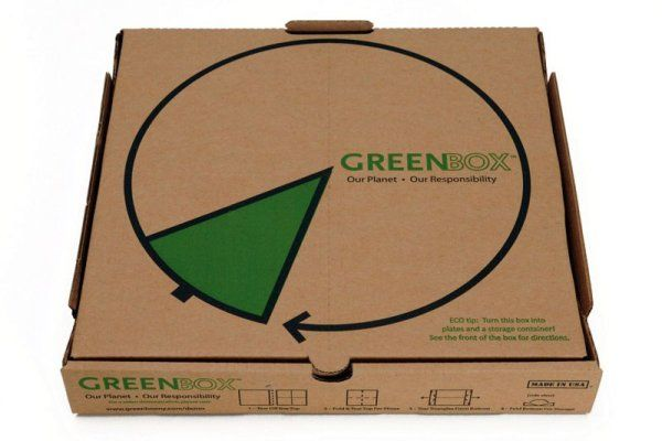 "This ""Tearable"" pizza box transforms into usable plates, and then a smaller box for leftovers and more compact storage."