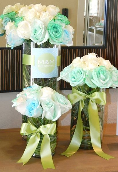 Modern Baptism Party Ideas | Floral arrangements, The ...