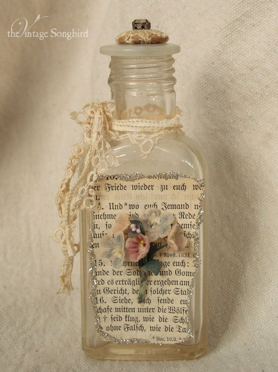 Beautiful altered bottle by thevintagesongbirddecor ideas for Decorative vials