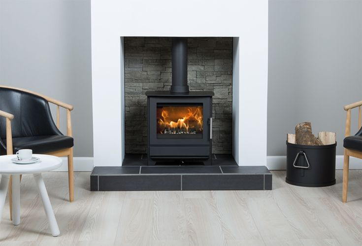 HETA Inspire 45, 5kw multi fuel stove with Stack Stone fire chamber and tiled honed black granite hearth