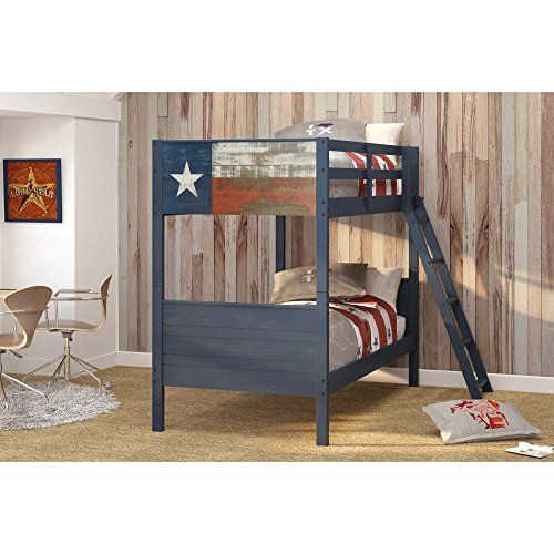 Your kids can represent their pride for the Lone Star state in their bedroom with the Donco Kids Loan Star Texas Flag Twin over Twin Bunk Bed. This rustic bunk ...